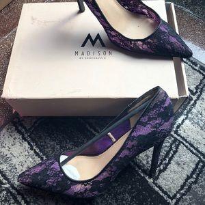 Purple lace high heeled stiletto